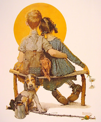 Norman Rockwell - Boy and girl gazing at moon